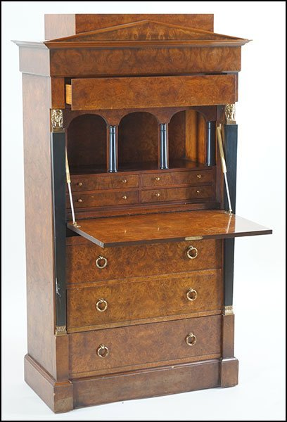 BAKER FURNITURE BIEDERMEIER STYLE BURL WOOD SECRETARY.