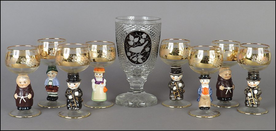 SET OF EIGHT GERMAN ETCHED GLASS WINE GLASSES.