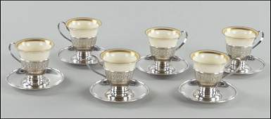 SET OF SIX RETICULATED STERLING SILVER DEMITASSE CUPS