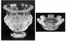 LALIQUE FRANCE FROSTED CRYSTAL DAMPIERRE VASE Vase 5