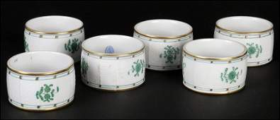 GROUP OF SIX HEREND HUNGARY HANDPAINTED PORCELAIN