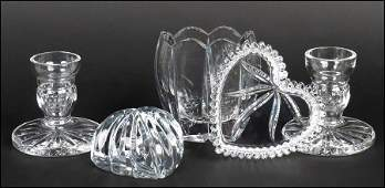 A PAIR OF WATERFORD CRYSTAL LOW CANDLESTICKS Each