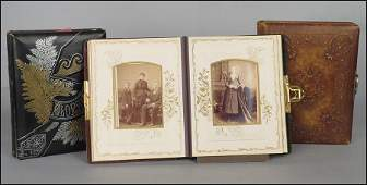 """GROUP OF THREE VICTORIAN PHOTO ALBUMS. Average: 11"""" x"""
