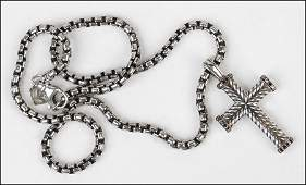 A DAVID YURMAN STERLING SILVER AND BLACK DIAMOND CROSS