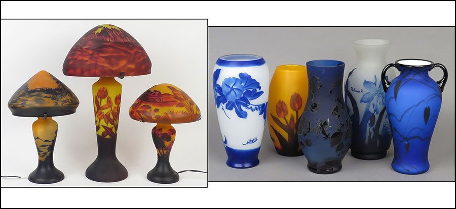COLLECTION OF CAMEO GLASS DECORATIVE ITEMS.