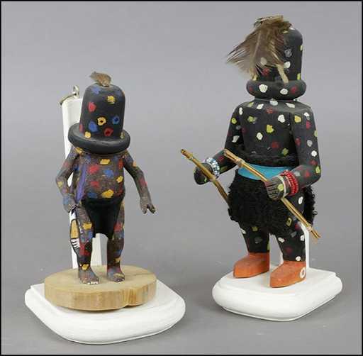 Two Shulawitsi Zuni Fire God Kachina Doll Figures