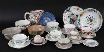 COLLECTION OF ENGLISH PORCELAIN AND STONEWARE TABLE