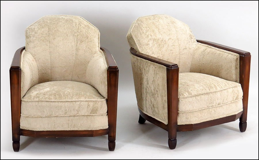 A PAIR OF FRENCH CLUB CHAIRS.