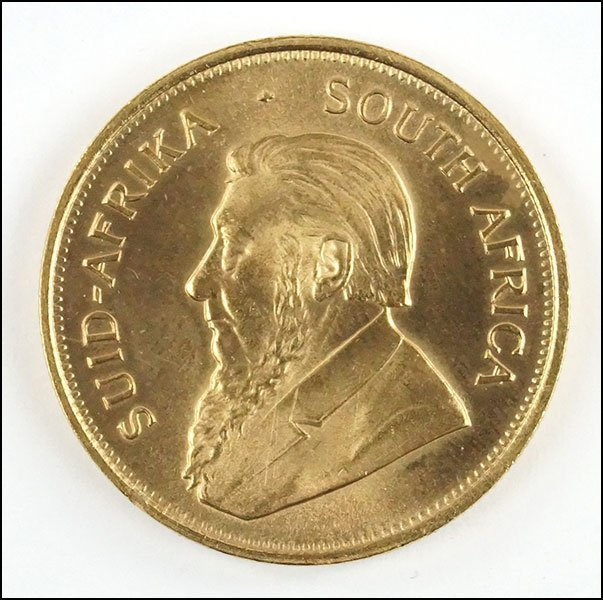 A 1975 SOUTH AFRICAN KRUGERRAND GOLD COIN.