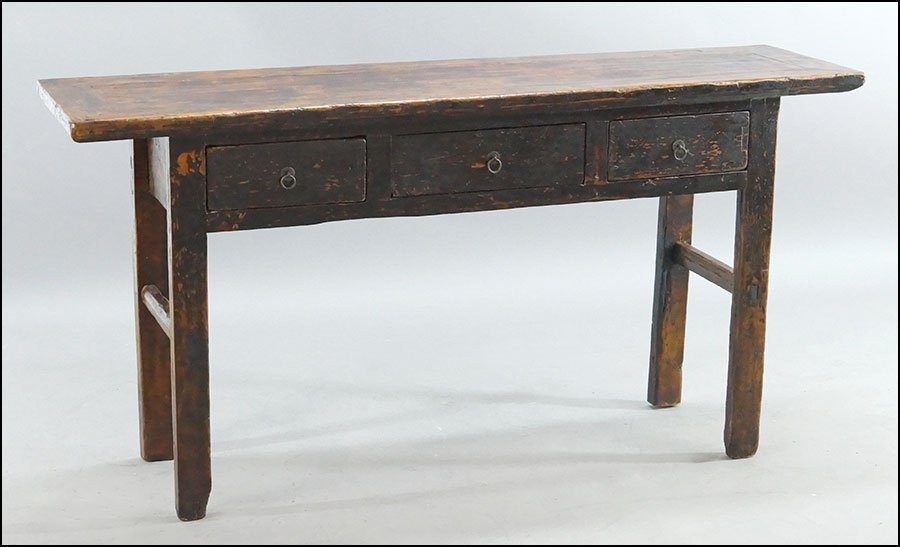 A LACQUERED PINE OFFERING TABLE.