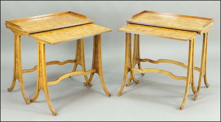 A PAIR OF BAKER BURLWOOD VENEER NESTING TABLES.