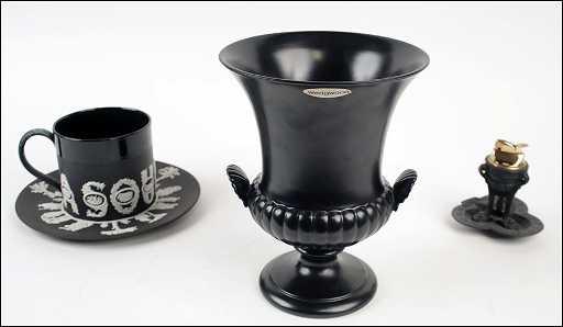 A Wedgwood Black Basalt Urn Form Vase