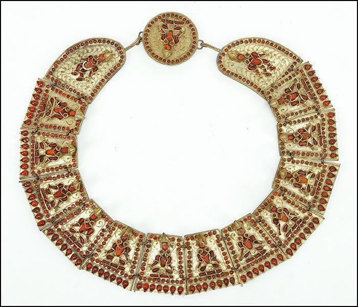A NEPALESE CORAL AND GILT METAL WEDDING NECKLACE.