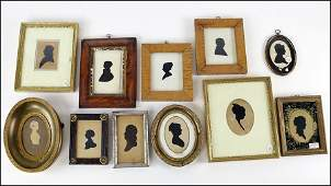 COLLECTION OF ELEVEN 19TH CENTURY CUT PAPER SILHOUETTE