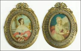 TWO CONTINENTAL SCHOOL PORTRAIT MINIATURES OF SEATED