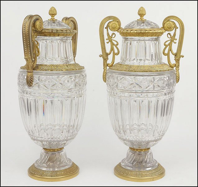 A PAIR OF FRENCH BACCARAT BRONZE MOUNTED CRYSTAL
