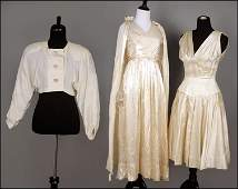 TWO VINTAGE CREAM SILK DRESSES