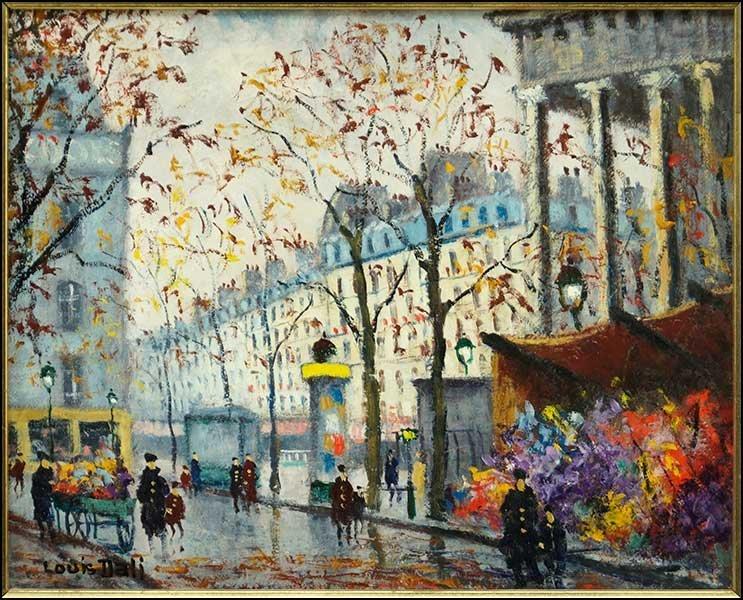 LOUIS DALI (FRENCH, 1905-2001) PARIS STREET SCENE.