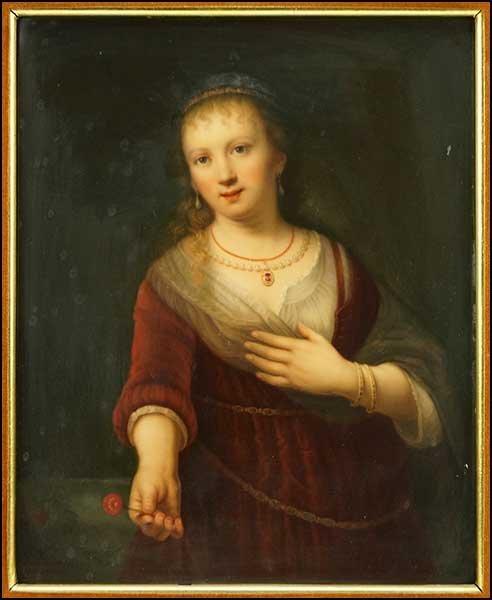 A KPM PORCELAIN PLAQUE DEPICTING A YOUNG WOMAN WITH A