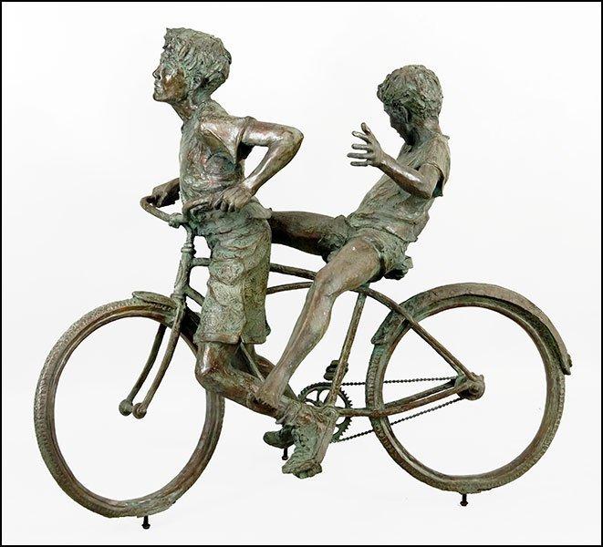 JANE DEDECKER (AMERICAN. B. 1961) CHILDREN ON A BIKE