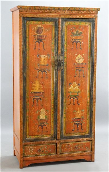 A Chinese Painted Elmwood Armoire.