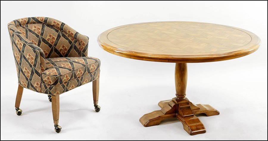 A Fremarc Parquetry Round Games Table.
