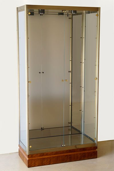 A Contemporary Brushed Metal Cabinet.