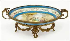 A French Sevres Painted Porcelain Centerpiece Bowl.