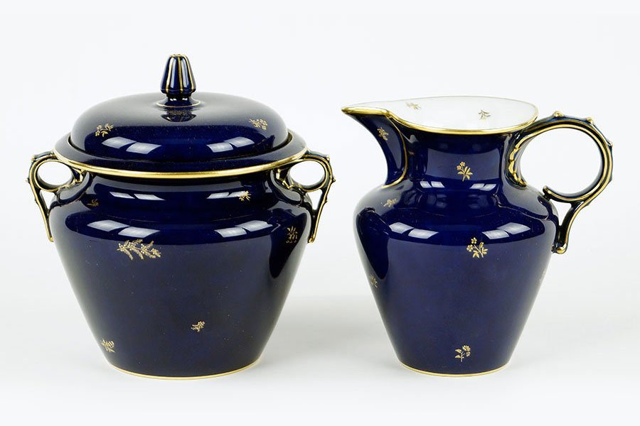 A Sevres Cobalt Blue Sugar Bowl And Creamer.