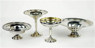 A Set Of Four Sterling Silver Weighted Compotes.