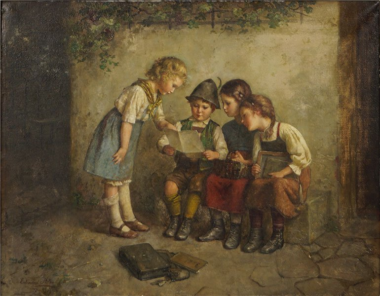 Edmund Adler (German, 1871-1957) The Lesson.