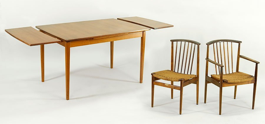 A Set of Six Swedish Dux Teak Dining Chairs.
