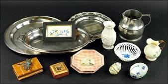 A Belleek Porcelain Creamer And Sugar.