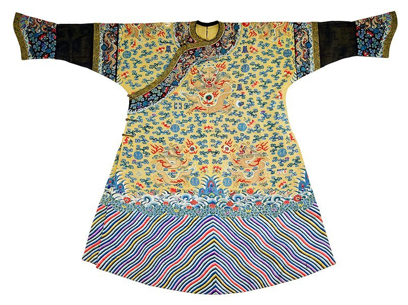 A Chinese Imperial Qing Dynasty Silk Robe.