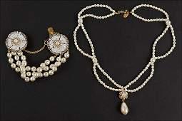 A Miriam Haskell Faux Baroque Pearl Triple Strand