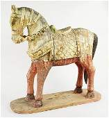 A Chinese Polychrome Carved Wood Horse