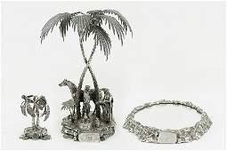 A Victorian Elkington Silverplate Figural Centerpiece