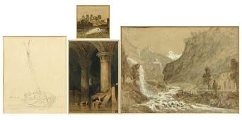 A Collection Of Four 19th Century British Drawings.