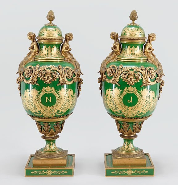A Pair of French Sevres Urns.
