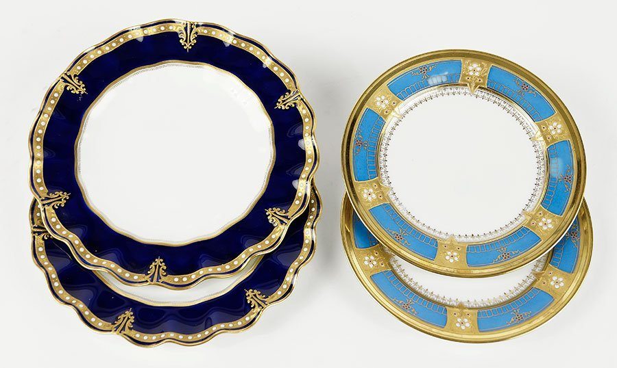 Two Pairs of Gilt and Enameled Plates.