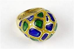 An Enamel and 14 Karat Yellow Gold Dome Ring.