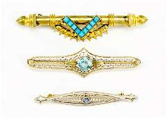 A Victorian Turquoise And Gold Filled Bar Pin