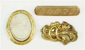 A Victorian 10 Karat Yellow Gold Cameo BroochPendant