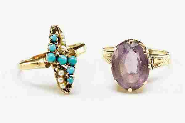 A Victorian Amethyst And 14 Karat Yellow Gold Ring.