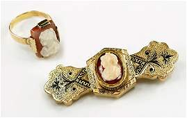 A Victorian Agate 10 Karat Yellow Gold And Enamel