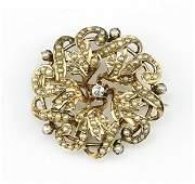A Victorian Diamond Pearl And 10 Karat Yellow Gold