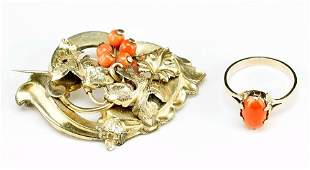 A Victorian Coral And Gold Filled Grape Leaf Brooch