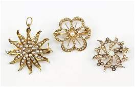 Two Seed Pearl And 14 Karat Yellow Gold Brooches