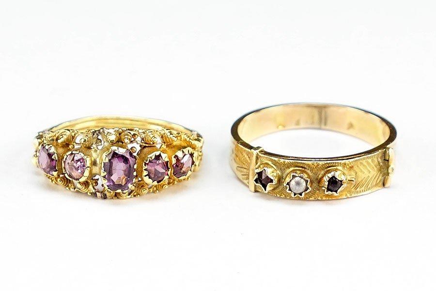 A Victorian Garnet, Pearl, And 10 Karat Yellow Gold
