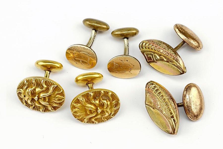 A Pair Of Victorian 10 Karat Yellow Gold Cufflinks.